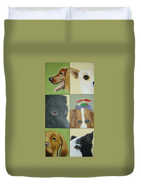 Dog Faces Of Love Duvet Cover