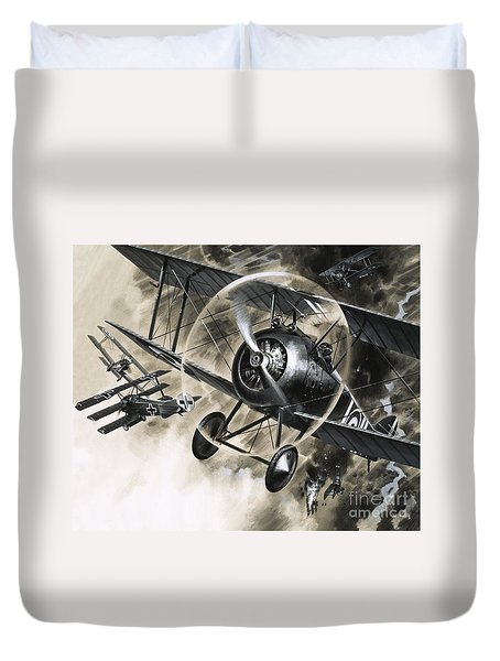 Dog Fight Between British Biplanes And A German Triplane Duvet Cover by Wilf Hardy