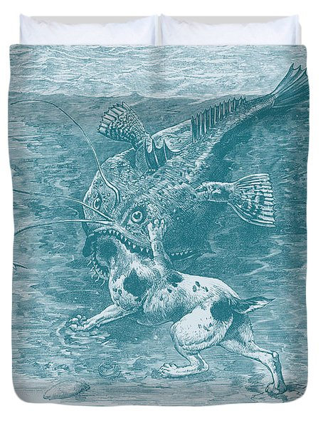 Dog Fish Duvet Cover by David Davies