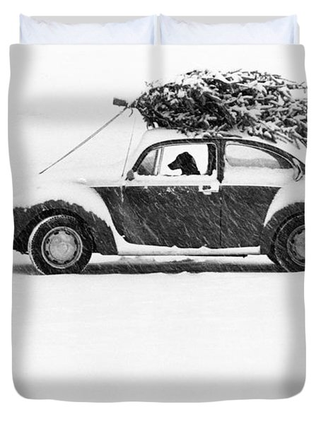 Dog In Car  Duvet Cover