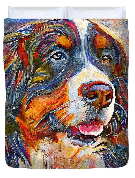Dog In Colors Duvet Cover