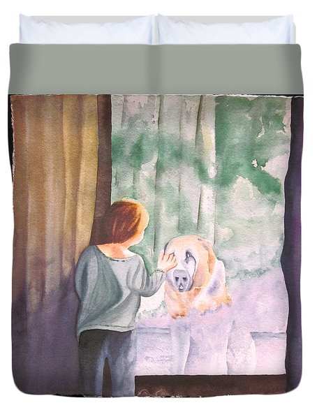 Duvet Cover featuring the painting Dog In The Window by Teresa Beyer