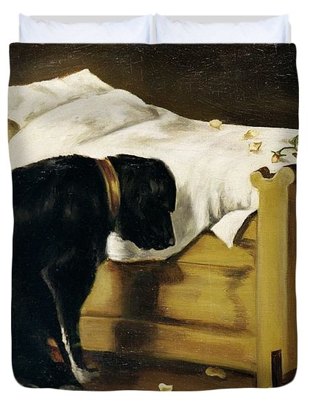 Dog Mourning Its Little Master Duvet Cover by A Archer
