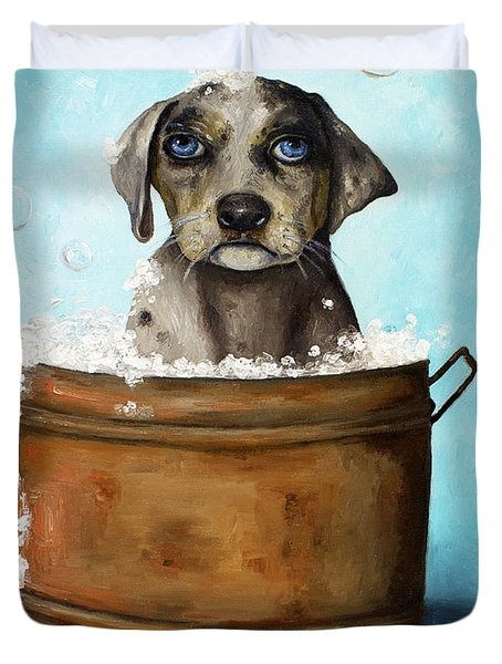 Dog N Suds Duvet Cover by Leah Saulnier The Painting Maniac