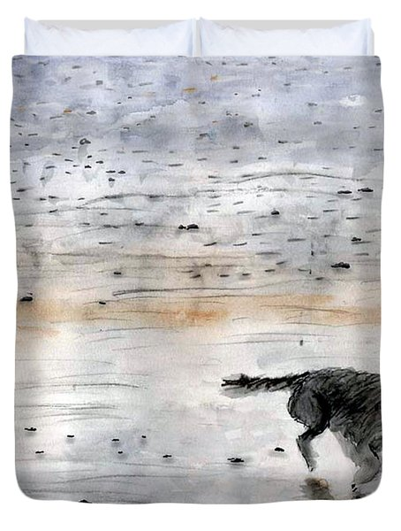 Duvet Cover featuring the painting Dog On Beach by Chriss Pagani