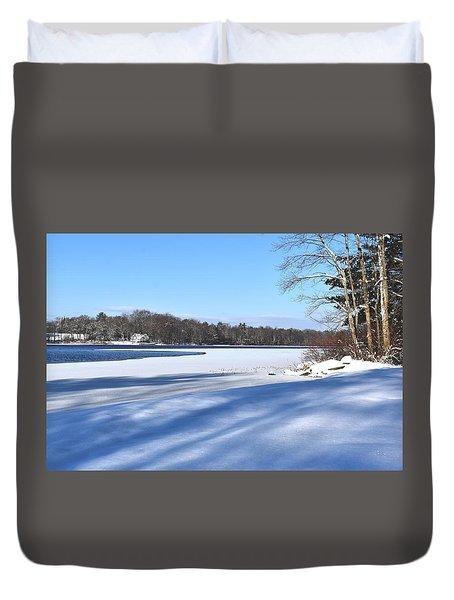Dog Pond In Winter 1 Duvet Cover