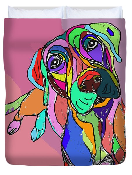 Dog Sketch Psychedelic  01 Duvet Cover