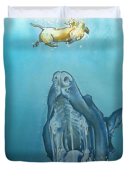 Dog-themed Jaws Caricature Art Print Duvet Cover