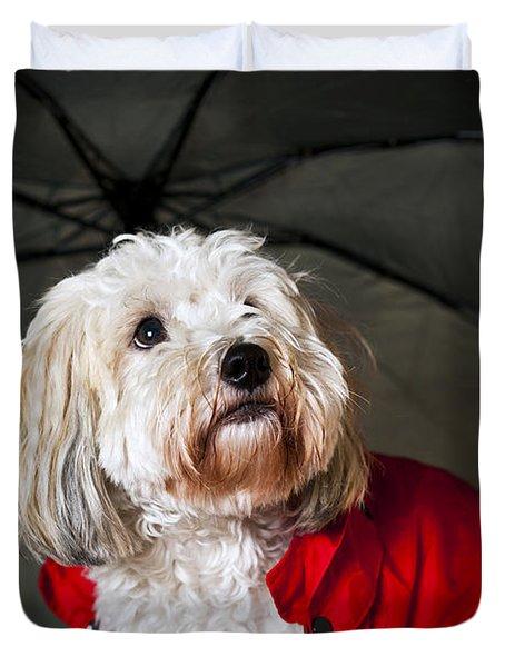 Dog Under Umbrella Duvet Cover by Elena Elisseeva