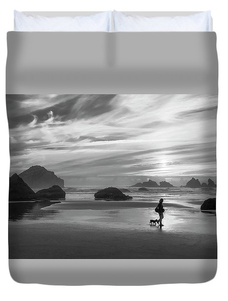 Dog Walker Bw Duvet Cover