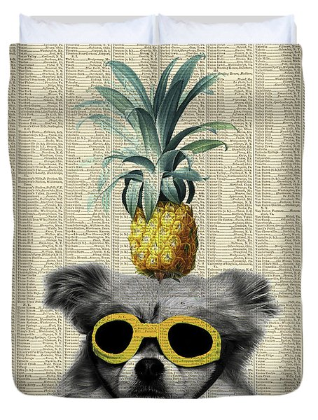 Dog With Goggles And Pineapple Duvet Cover