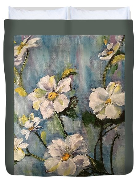 Duvet Cover featuring the painting Dog Wood by Sharon Schultz