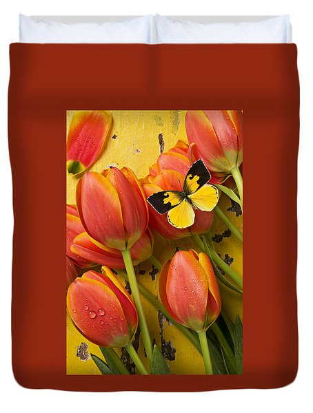 Dogface Butterfly And Tulips Duvet Cover