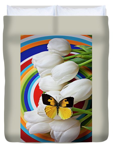 Dogface Butterfly On White Tulips Duvet Cover by Garry Gay