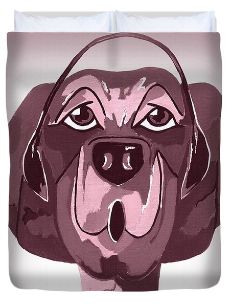 Doggie Singing The Blues Duvet Cover by Kathleen Sartoris