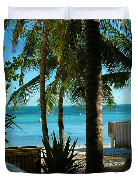 Dog's Beach Key West Fl Duvet Cover by Susanne Van Hulst