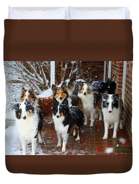 Dogs During Snowmageddon Duvet Cover