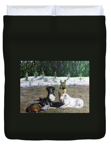 Dogs Having A Meeting Duvet Cover