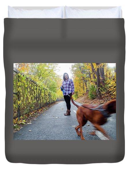 Dogwalking Duvet Cover