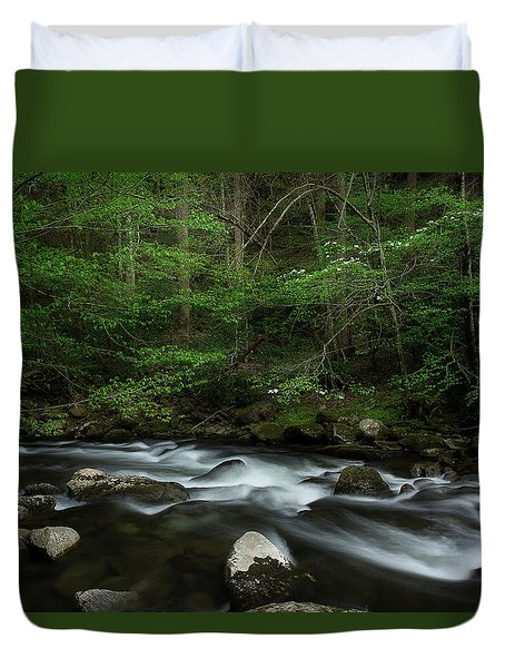 Duvet Cover featuring the photograph Dogwood Along The River by Mike Eingle