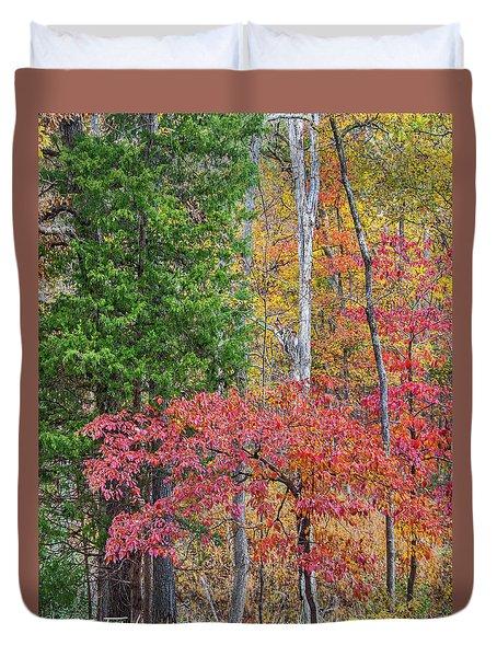 Dogwood And Cedar Duvet Cover by Tim Fitzharris