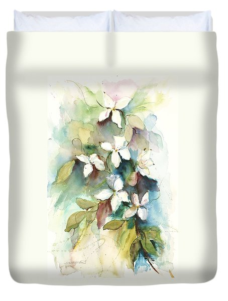 Dogwood Branch Duvet Cover by Sandra Strohschein