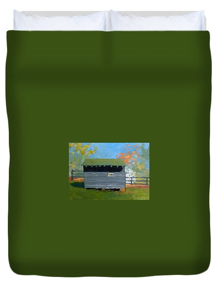 Dogwood Farm Shed Duvet Cover by Catherine Twomey