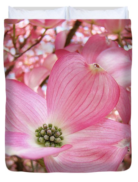 Dogwood Tree 1 Pink Dogwood Flowers Artwork Art Prints Canvas Framed Cards Duvet Cover by Baslee Troutman