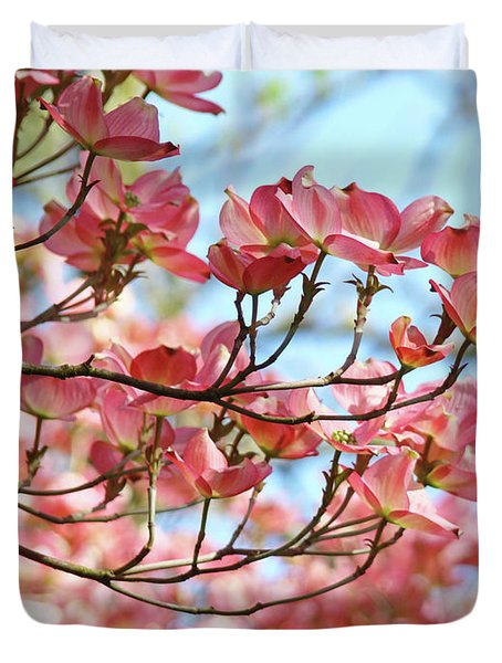 Dogwood Tree Landscape Pink Dogwood Flowers Art Duvet Cover by Baslee Troutman