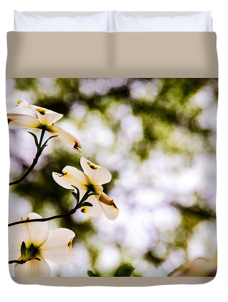 Dogwoods Under The Pines Duvet Cover