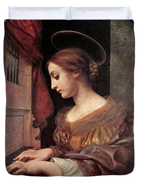Dolci Carlo St Cecilia At The Organ Duvet Cover