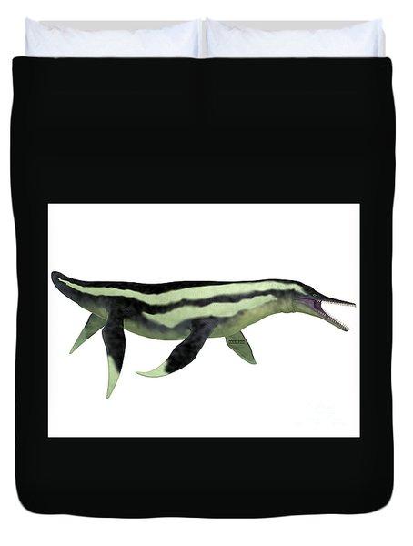 Dolichorhynchops Plesiosaur On White Duvet Cover by Corey Ford