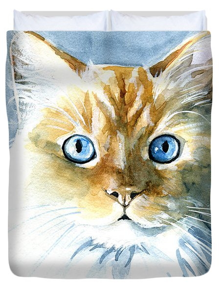 Doll Face Flame Point Himalayan Cat Painting Duvet Cover