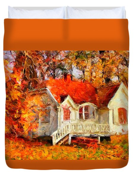 Doll House And Foliage Duvet Cover