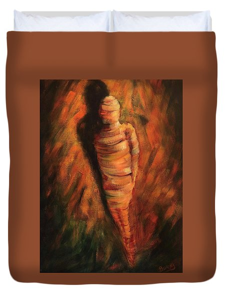 Duvet Cover featuring the painting Doll by Randol Burns
