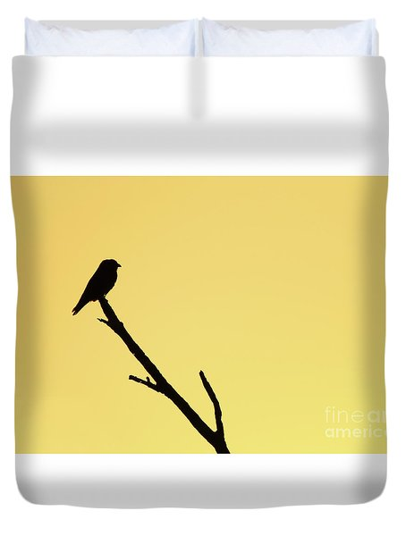 Duvet Cover featuring the photograph Dollarbird Sunrise Silhouette by Max Allen