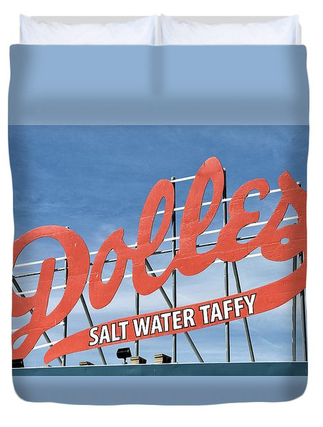 Duvet Cover featuring the photograph Dolles Salt Water Taffy - Rehoboth Beach  Delaware by Brendan Reals