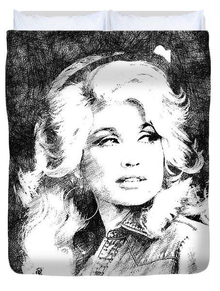 Dolly Parton Bw Portrait Duvet Cover by Mihaela Pater