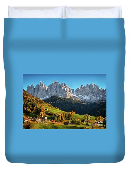 Dolomite Village In Autumn Duvet Cover