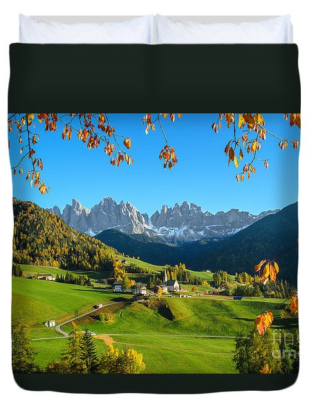 Dolomites Mountain Village In Autumn In Italy Duvet Cover