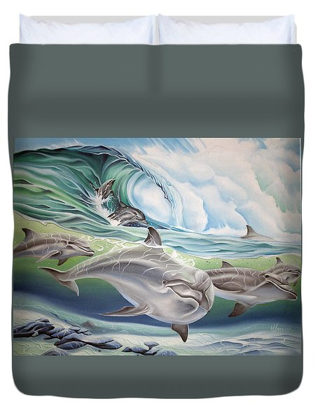 Duvet Cover featuring the painting Dolphin 2 by William Love