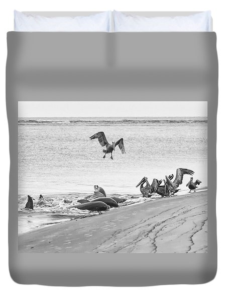 Dolphin And Pelican Party Duvet Cover