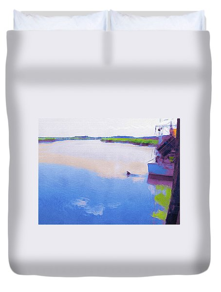 Dolphin And Shrimpboat Duvet Cover