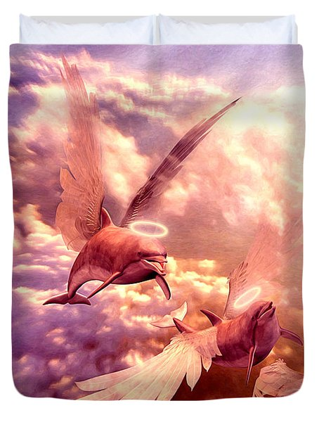 Dolphin Angels Duvet Cover by Robby Donaghey
