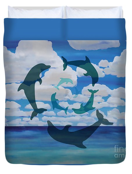 Dolphin Cloud Dance Duvet Cover
