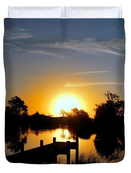 Dolphin Cove Sunrise Duvet Cover by Benanne Stiens