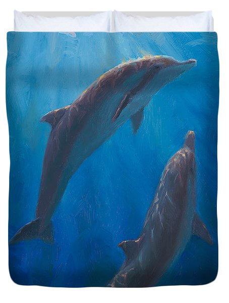 Dolphin Dance - Underwater Whales - Ocean Art - Coastal Decor Duvet Cover