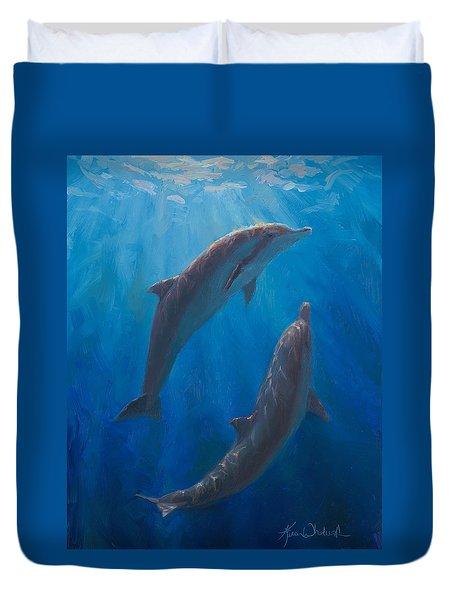 Dolphin Dance - Underwater Whales - Ocean Art - Coastal Decor Duvet Cover