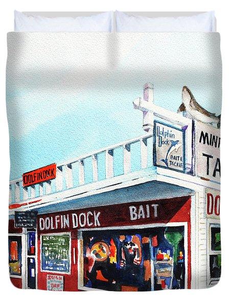 Dolphin Dock I Duvet Cover