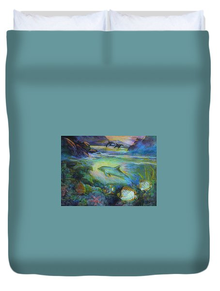 Duvet Cover featuring the painting Dolphin Fantasy by Denise Fulmer